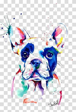Pintura de arte pop de cachorro, Bulldog francês Pintura em aquarela Desenho, Bulldog png
