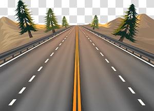 ilustração de estrada e árvores, estrada euclidiana, estrada png