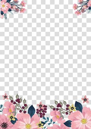 Flor, pintados à mão bordas rosa, rosa e verde quadro floral sobre fundo branco png