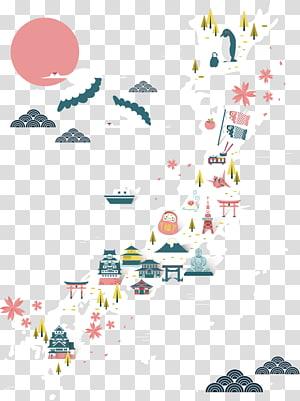 Mapa do Japão, ícone do turismo no Japão, material de idéias de férias no Japão PNG clipart