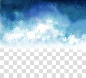 Nuvens azuis e brancas, azuis e brancas pintadas à mão euclidianas PNG clipart