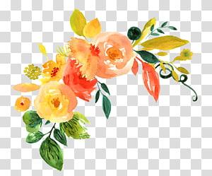 Design floral Flor Pintura em aquarela, Padrão de decoração de flores em aquarela pintada à mão, ilustração de flores laranja e amarelo png