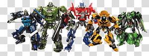 ilustração de cinco figuras de ação dos Transformers, Transformers: The Game Optimus Prime Grimlock Bumblebee Hound, Transformers Autobot Background png
