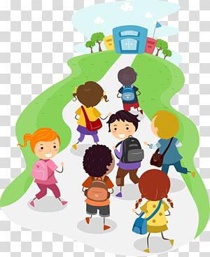 crianças correndo em direção a ilustração de escola, escola, escola PNG clipart