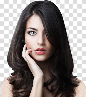 mulher no retrato de batom rosa, salão de beleza coloração de cabelo penteado, modelo em casa PNG clipart