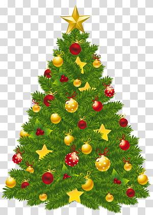 verde, amarelo e vermelho árvore de Natal, árvore de Natal dia de Natal, árvore de Natal PNG clipart