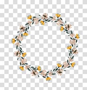 grinalda amarela, marrom e verde, grinalda de casamento PNG clipart