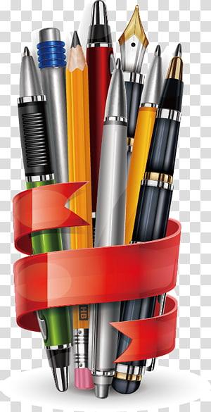 ilustração em caneta de cores sortidas, lápis, papel de carta e material de papelaria PNG clipart