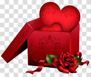 coração na caixa de presente, presente coração dia dos namorados, caixa de presente com coração e rosa png