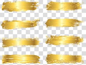 Pincel, folha de ouro pintada, oito listras marrons PNG clipart