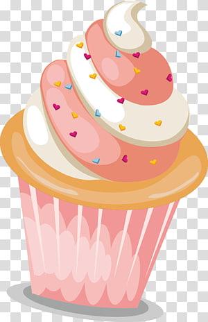 ilustração de cupcake rosa e branco, padaria cupcake sundae, cupcakes coloridos png