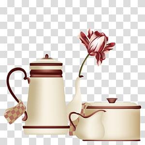 Desenho da caneca do copo de café do bule, jogo de chá do bule png