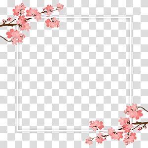 ilustração de quadro de flores de pétalas de rosa, galho de árvore de flor de cerejeira, quadro de galho de árvore de cereja e PSD png
