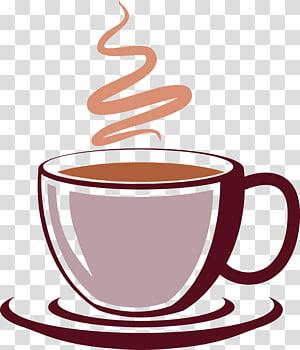 caneca com ilustração de café, xícara de café bebida, aroma de café png