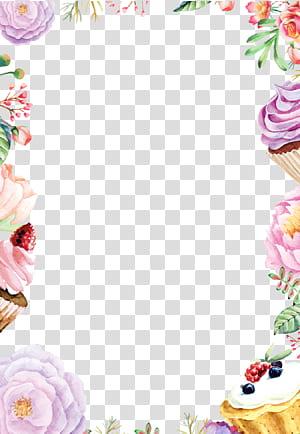 Pintura em aquarela Desenho de flores, Flores em aquarela fundo bolo de borda, flores de cores sortidas e cupcakes png