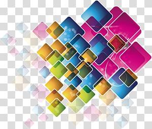 quadrados de cores sortidas, Adobe Illustrator Euclidiano, material de fundo da caixa Symphony png