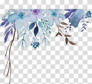 Pintura em aquarela Flor, flores em aquarela, ilustração de flores azuis e roxas png