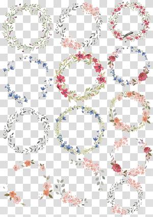 Watercolor painting Wreath Drawing Illustration, grinaldas em aquarela, ilustração de grinaldas de flores de cores sortidas PNG clipart