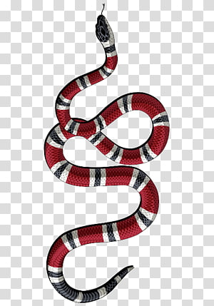 ilustração de cobra listrado vermelho, branco e preto, cobra moda de t-shirt gucci, cobra PNG clipart