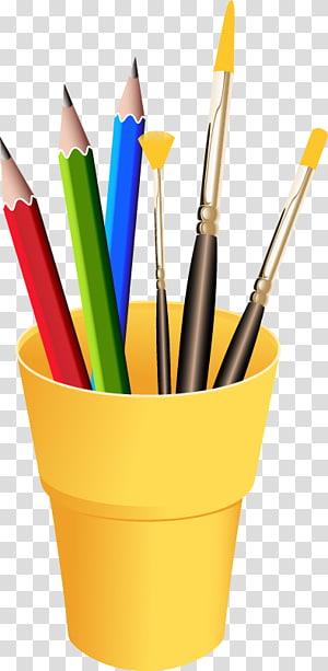 três lápis na ilustração recipiente amarelo, paleta de pintura de desenho, caneta de cor de papelaria arte PNG clipart