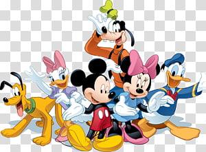 Ilustração de Mickey Mouse, Minnie Mouse, Pato Donald, Pato Margarida, Plutão e Pateta, Ilustração de Mickey Mouse Minnie Mouse Pato A Walt Disney Company, mickey PNG clipart