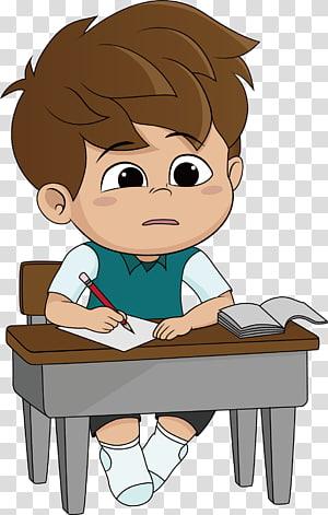 menino escrevendo na ilustração dos desenhos animados de papel, ilustração de lição de casa dos desenhos animados, pensando PNG clipart