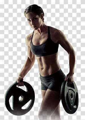 mulher segurando placas de ginásio em pé de frente para a câmera, musculação musculação aptidão física, cartazes esportivos png