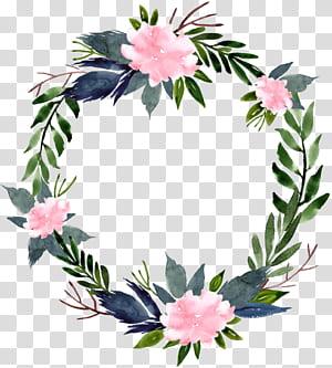 Coroa de flores, anel de flor em aquarela redonda ilustração floral de borda, azul, branca e verde PNG clipart
