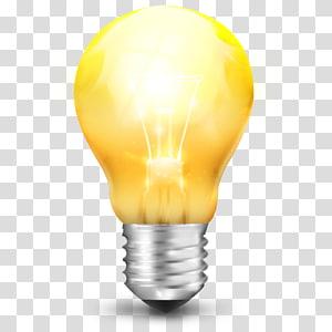 iluminação de energia amarela, OnLamp, ilustração de lâmpada de vidro amarela PNG clipart