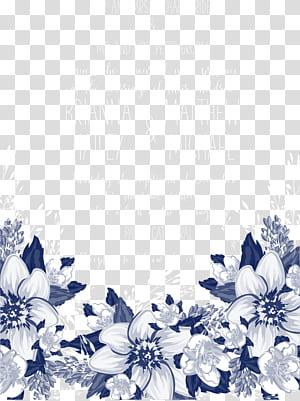 Pétala azul preto e branco padrão, convites de flores azuis, texto em branco sobre fundo azul PNG clipart