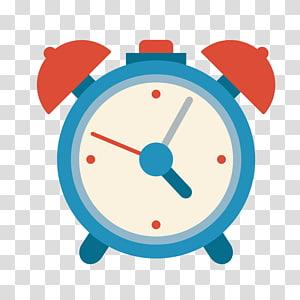 ilustração de despertador de sino azul, branco e vermelho, ícone de relógio despertador, despertador azul png