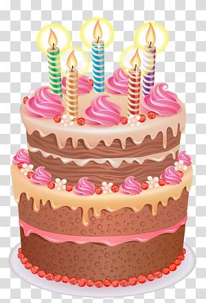 Bolo de chocolate com cobertura e ilustração de cinco velas listradas iluminadas, bolo de aniversário Cupcake, bolo png