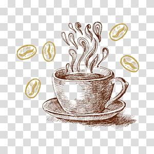 ilustração de caneca marrom, café com leite chá café cappuccino, café pintado à mão png
