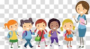 ilustração de mulher e cinco filhos, professor de educação física escola sala de aula, desenhos animados de crianças PNG clipart