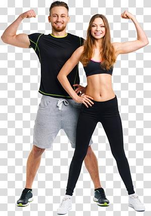 homem e mulher, mostrando o bíceps, exercício Personal trainer Fitness Center Aptidão física, parceiro feminino png