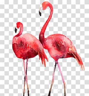 pintura de dois flamingos cor de rosa, Flamingo Poster Printmaking Illustration, Drawing Flamingos png