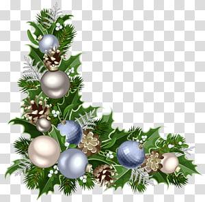 Decoração de Natal Enfeite de Natal Papai Noel, canto de Deco de Natal com decorações, folha palmate verde com ilustração de enfeites azuis e cinza PNG clipart