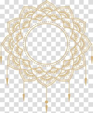 Papel Adobe Illustrator Icon, caixa de título de mandala de ouro, arte de mandala amarela png