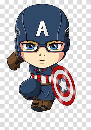 Capitão América Homem de Ferro Homem-Aranha Chibi dos desenhos animados, Capitão América, ilustração do Capitão América png