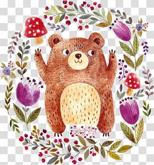 Urso pardo desenho ilustração, animais, urso com ilustração de moldura floral PNG clipart