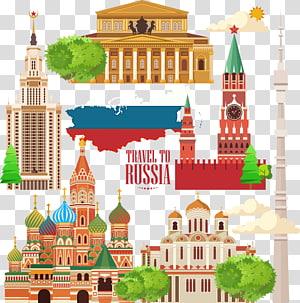 Ilustração de estruturas famosas russas, Moscou Kremlin Travel Illustration, Rússia City Travel PNG clipart