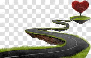 estrada para ilustração de árvore de coração vermelho, Road Sky Illustration, Tortuous mountain road png
