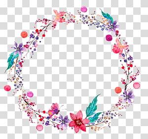 grinalda floral rosa e verde, flor de pintura aquarela, grinalda floral PNG clipart