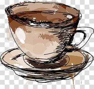 ilustração de xícara marrom e branca, café turco Xícara de café café, material de linha desenhada à mão de caneca png
