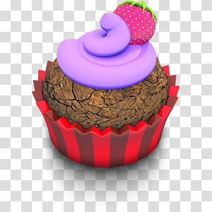 Cupcake de morango, xícara de confeiteiro sobremesa petit four pasteles, Berry Cupcake png