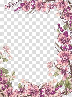 Ilustração floral euclidiana do design da flor, fundo roxo da beira das flores da tinta, ilustração roxa das flores das pétalas png