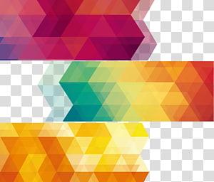 Geometria Abstração geométrica Euclidiana, Geometria abstrata, três pinturas abstratas rosa, amarelas e verdes PNG clipart