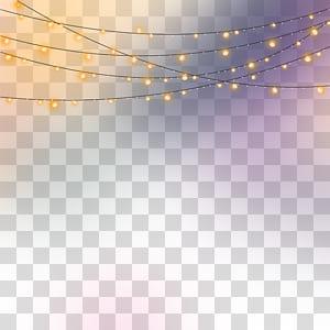 Piso roxo claro, luzes noturnas, close-up de luzes da corda PNG clipart