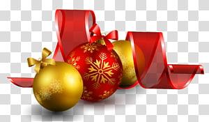 ilustração de enfeites vermelhos e dourados, enfeite de Natal, bolas de Natal com decoração de laço vermelho png