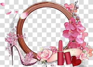 quadro de flores rosa e branco, borda de quadro png